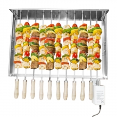 "Barbecue Skewer Shish Kabob Set Automatic Rotating Rotisserie BBQ Grill Rack Set with Rotisserie Motor, 11pcs 23"" Skewers Grill Rack Set"