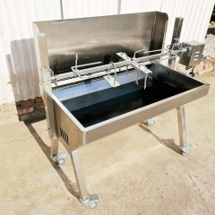 Portable BBQ Charcoal Spit Rotisserie Roaster Grill for Whole Pig, Lamb, Goat, Stainless Steel, with Back Cover Guard, 187 lbs